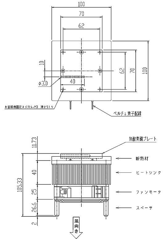 電子冷却ユニットCLVPU-40外形図