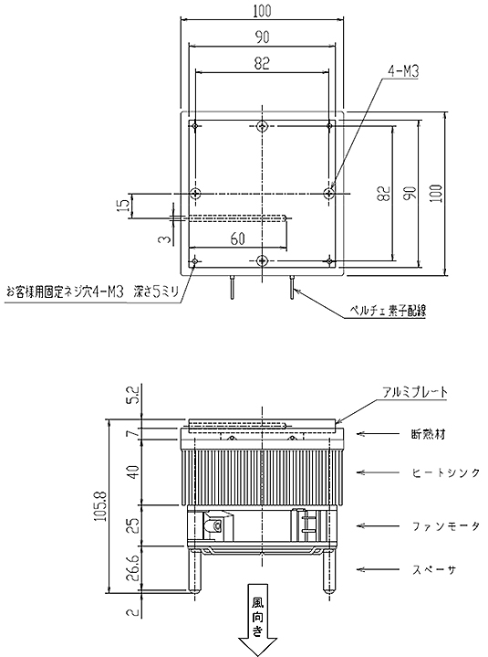 電子冷却ユニットLVPU-70外形図