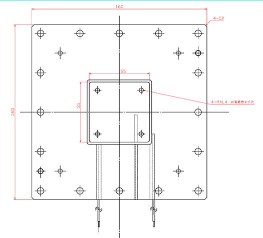 グローブボックス専用冷却ユニットGBWLVPU-D70 外形図