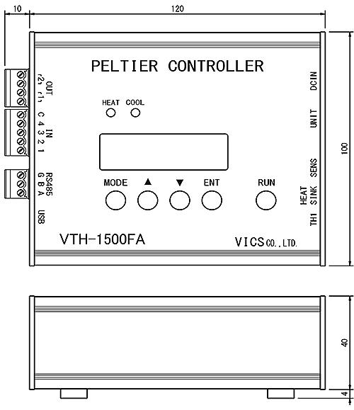 ペルチェコントローラVTH-1500FA外形図